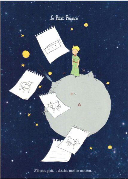 Postkarte der kleine Prinz Zettel Mond