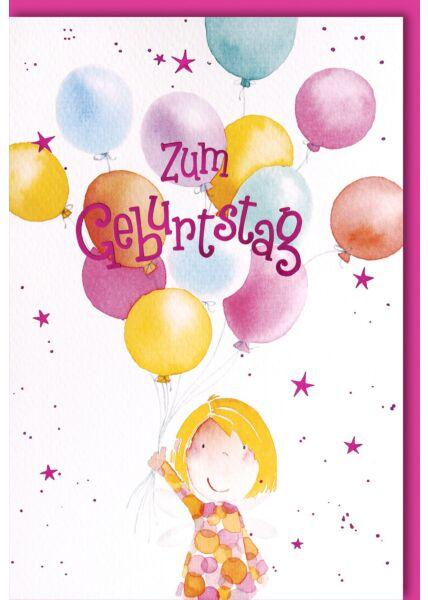 Geburtstagskarte für Kinder Mädchen mit Flügeln