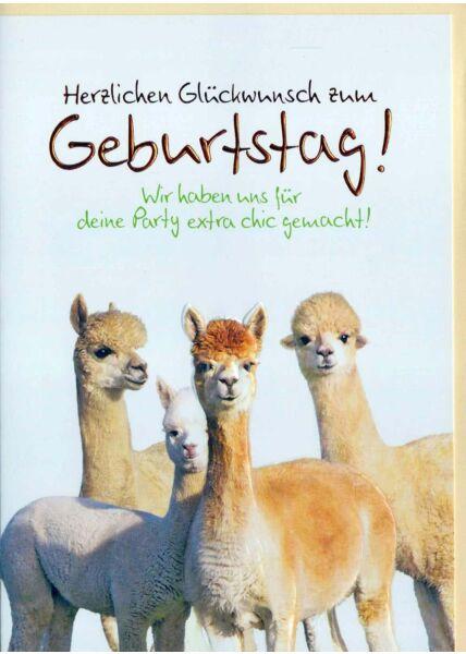 Geburtstagskarte lustig: Herzlichen Glückwunsch Lamas
