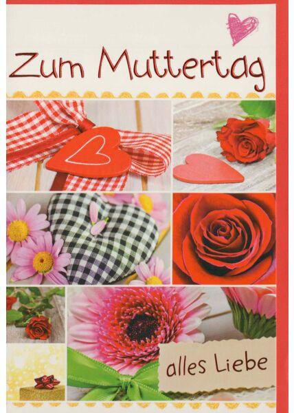 Muttertag Grusskarte liebevoll: Blumen und Herzen