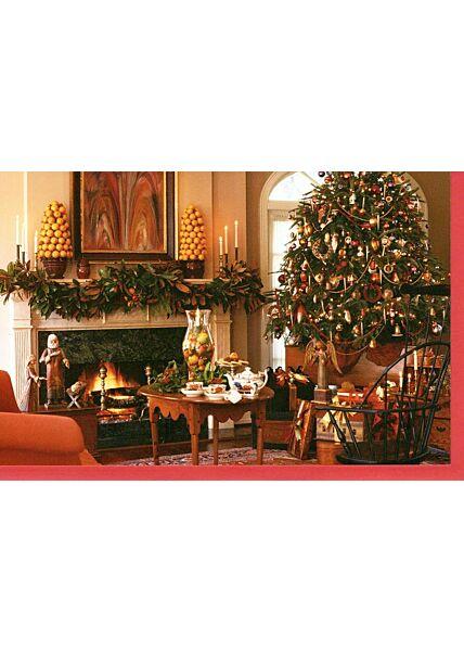 Weihnachtskarten Traditionell Weihnachtskarte klassisch Kaminzimmer