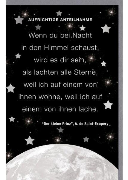 Trauerkarte Mond und Sterne, mit Silberfolie