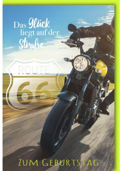 Geburtstagskarte Spruch Motorrad/Route 66