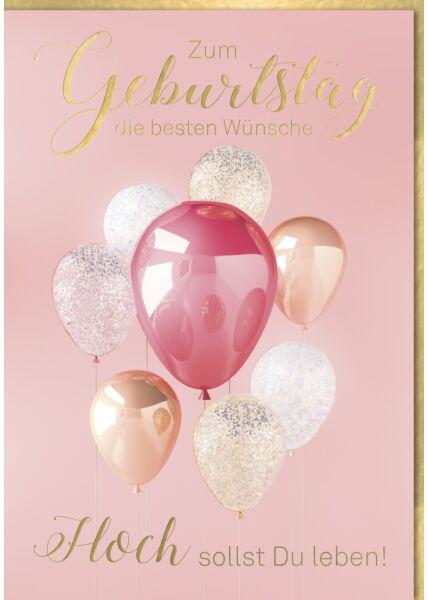 """Geburtstagskarte Maxi, XXL Luftballons """"Hoch sollst Du... DIN A4"""