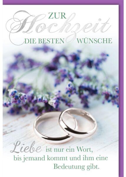 Hochzeitskarte mit Spruch Ringe in Weißgold