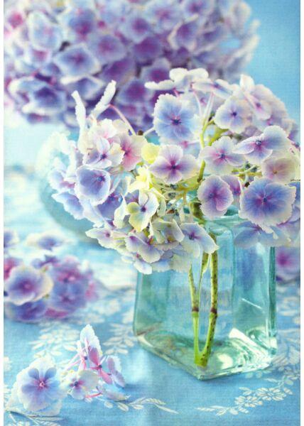 Schöne Blumen Postkarte Hortensie
