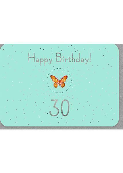 Geburtstagskarten 30 mit Silberfolie und Glitzerelementen