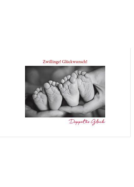 Glückwunschkarte Zwillinge Geburt Zwillinge! Glückwunsch! Doppeltes Glück Gutsch Verlag