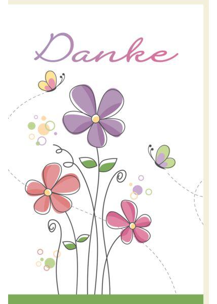 Danksagungskarte Gezeichnete Blumen und Schmetterlinge