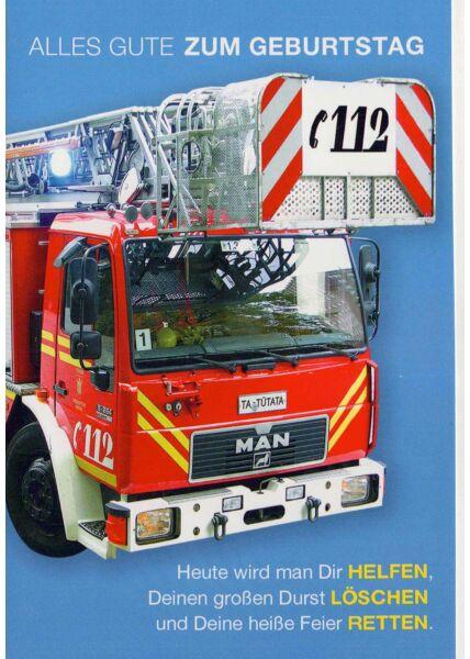 Geburtstagskarte Mann: Feuerwehrauto