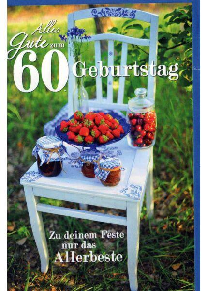 Geburtstagskarte 60 Gebrutstag Land Natur: Erdbeeren