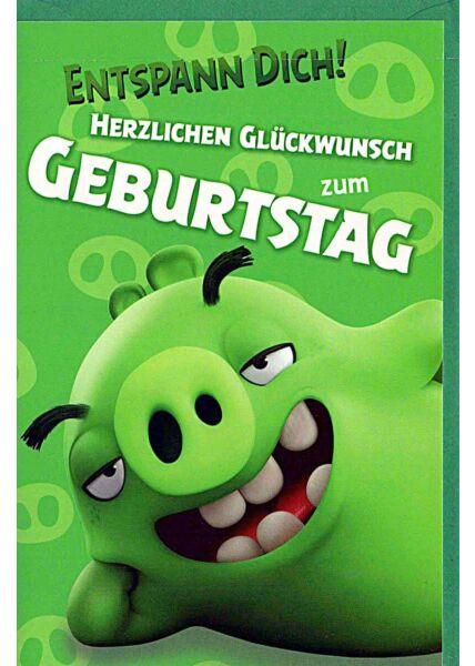 "Kindergeburtstagskarte Angry Birds ""entspann Dich"""