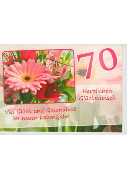 Geburtstagskarte 70 Viel Glück und Gesundheit im neuen Lebensjahr