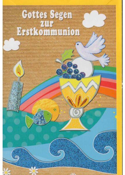 Grußkarte Kommunion: Gottes Segen zur Erstkommunion