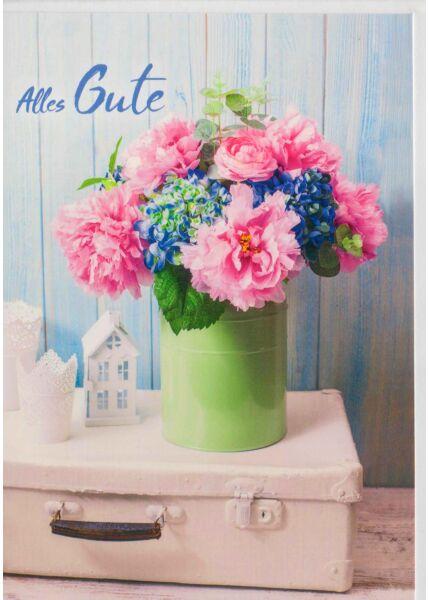 Grußkarte Blumen auf Koffer Alles Gute