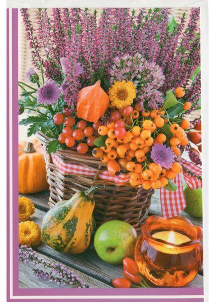 Grußkarte ohne Text Korb mit Blumen