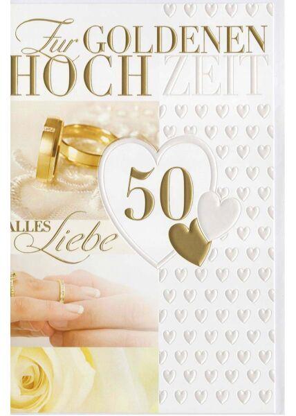 Glückwunschkarte goldene Hochzeit Herzen weiß und gold