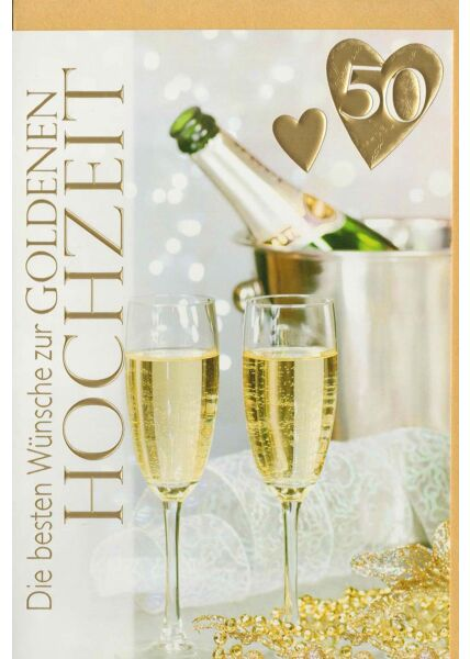 Glückwunschkarte goldene Hochzeit 2 Sektflaschen