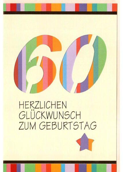 Karte Geburtstag 60 Jahre Streifen