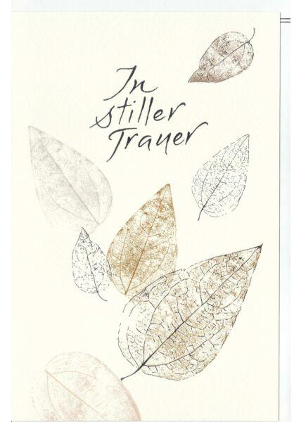 Trauerkarte Kleine und große lose Blätter, Naturkarton, mit Silberfolie und Blindprägung
