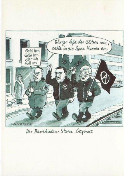 Postkarte der Barikaden-Sturm beginnt