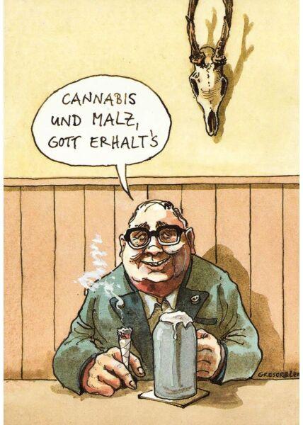 Lustige Postkarte Cannabis und Malz, Gott erhalt´s