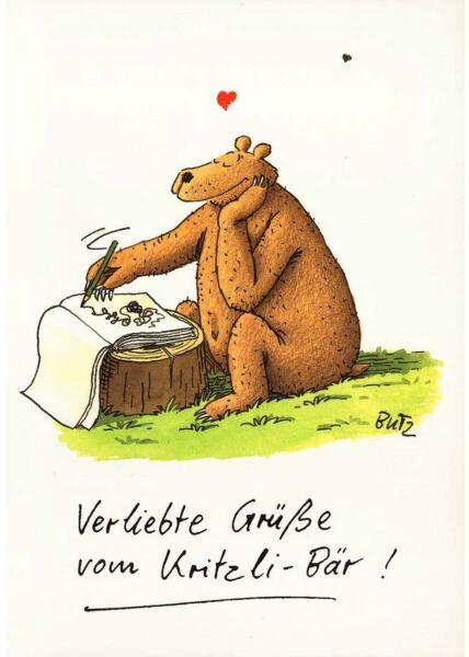 Postkarte Liebe Bär Verliebte Grüße