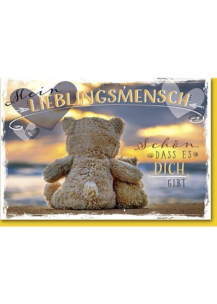 Valentinstagskarte Lieblingsmensch Grußkarte Liebe Teddybären