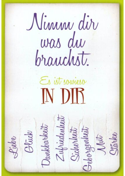 Postkarte Freunschaft Spruch Nimm dir was du brauchst