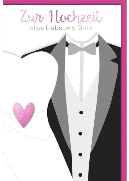 Glückwunschkarte Hochzeit Pinkes Herz auf Brautkleid