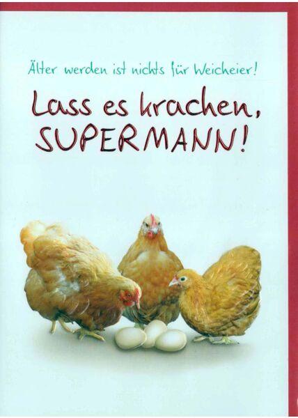 Geburtstagskarte lustig: drei Hühner mit Eiern