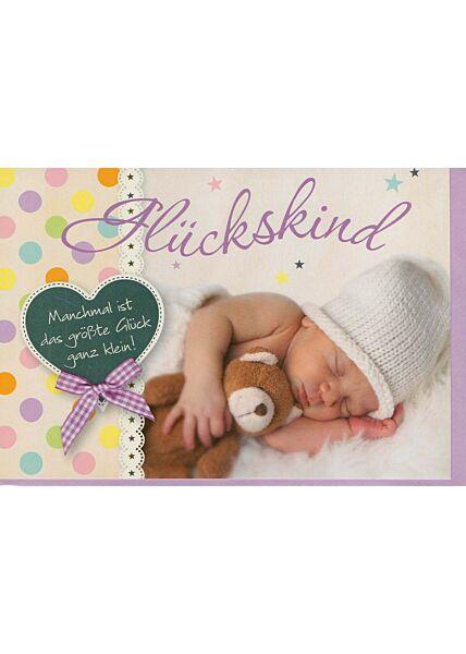 Glückwunschkarte Geburt Glückskind niedlich