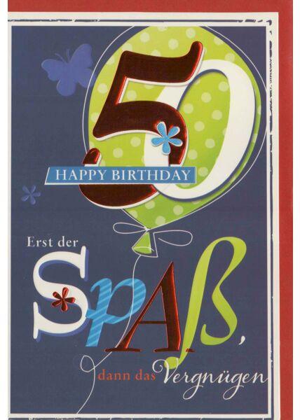 Glückwunschkarte 50 Happy Birthday Spaß und Vergnügen