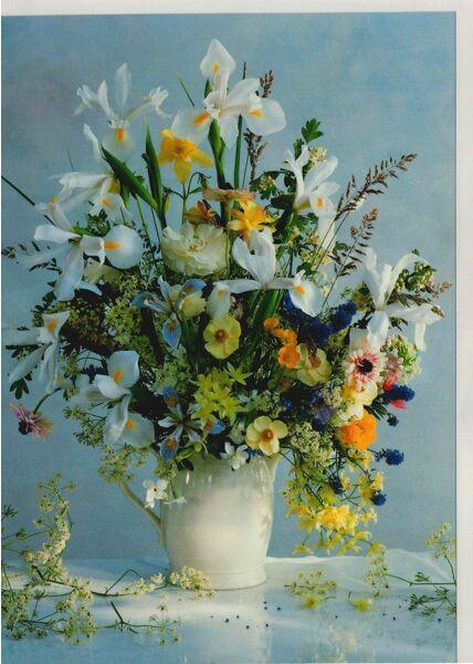Grußkarte Blumenstrauß Hintergrund blau
