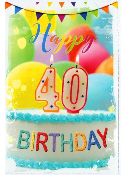 Geburtstagskarte 40 Happy Birthday Kuchen Kerze