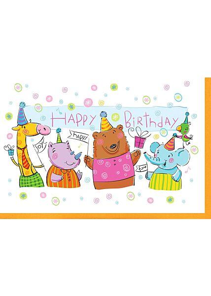 Kindergeburtstagskarte Feiernde Tiere