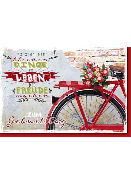Geburtstagskarte Spruch Fahrradgepäckträger mit Blumen