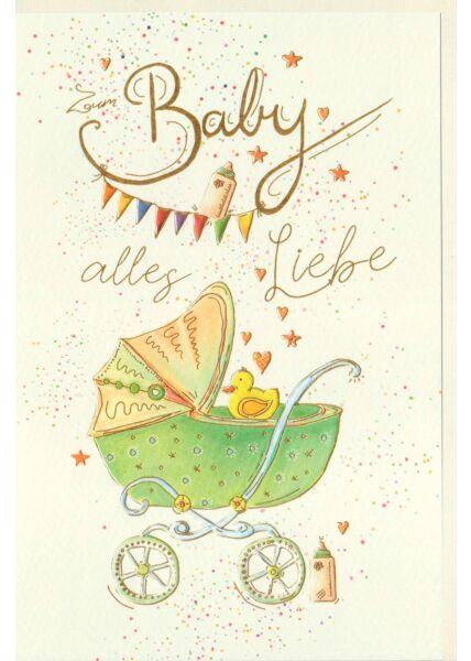 Glückwunschkarte Geburt Baby Kinderwagen mit Ente, Naturkarton, mit Goldfolie und Blindprägung