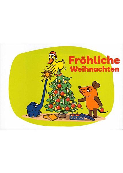 schöne Maus-Postkarte Fröhliche Weihnachten