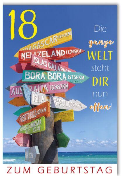 Geburtstagskarte 18 Die ganze Welt steht dir nun offen