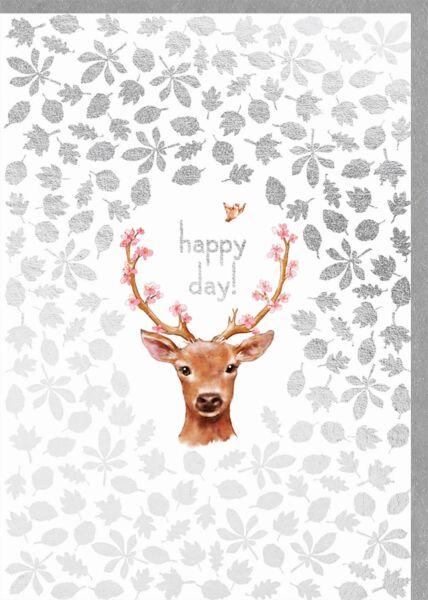 Geburtstagskarte für Frauen Reh mit Geweih Happy Day