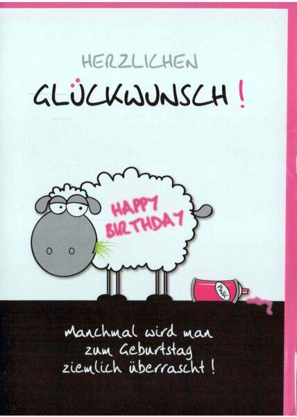Geburstagskarte lustig: Schaf Happy Birthday pink