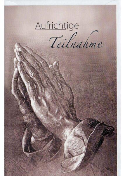 Trauerkarte Hand Aufrichtige Teilnahme