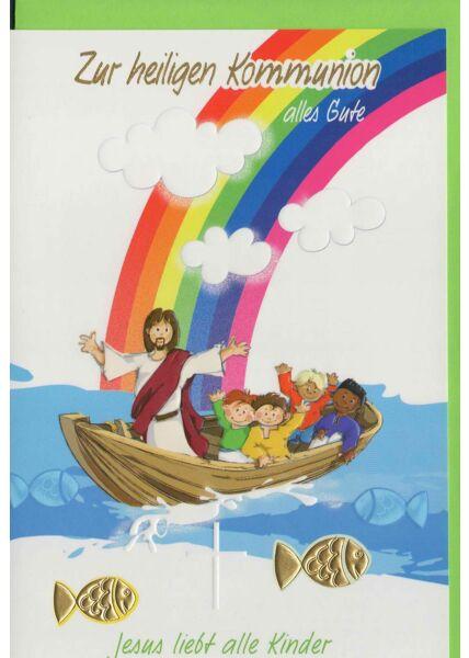 Glückwünschkarte zur Kommunion kindgerecht christlich