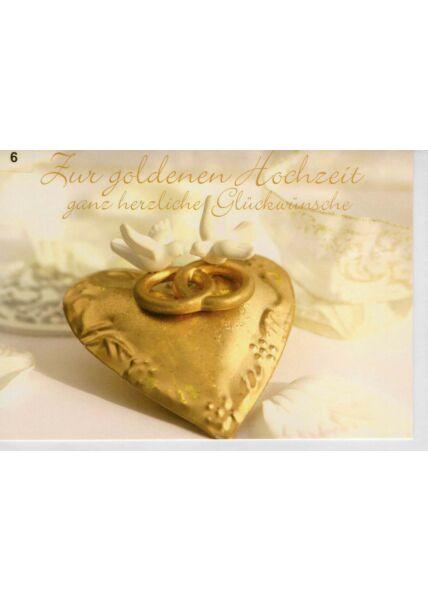 Hochzeitskarte Goldhochzeit Herz mit zwei Ringen gold