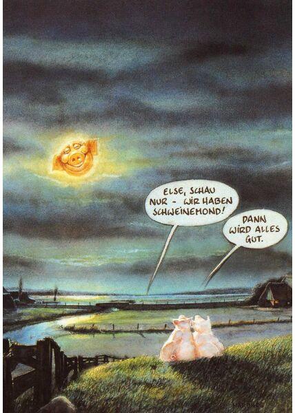 Postkarte lustig Schweinemond