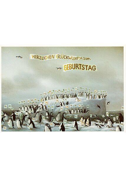Postkarte Pinguine Herzlichen Glückwunsch
