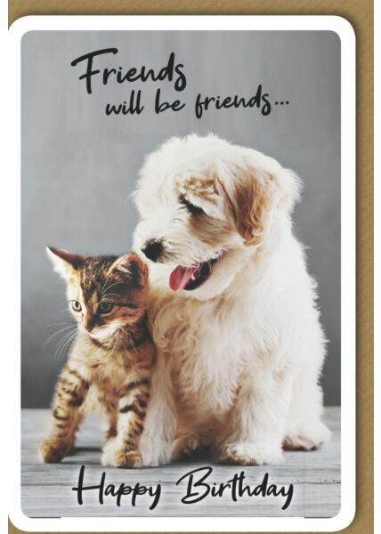 Geburtstagskarte - Kätzchen und Hündchen
