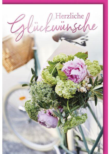 Glückwunsch - Blumen auf Gepäckträger