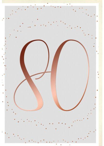 Geburtstagskarte 80 Jahre Schriftkarte, Naturkarton, mit roségoldener Metallicfolie